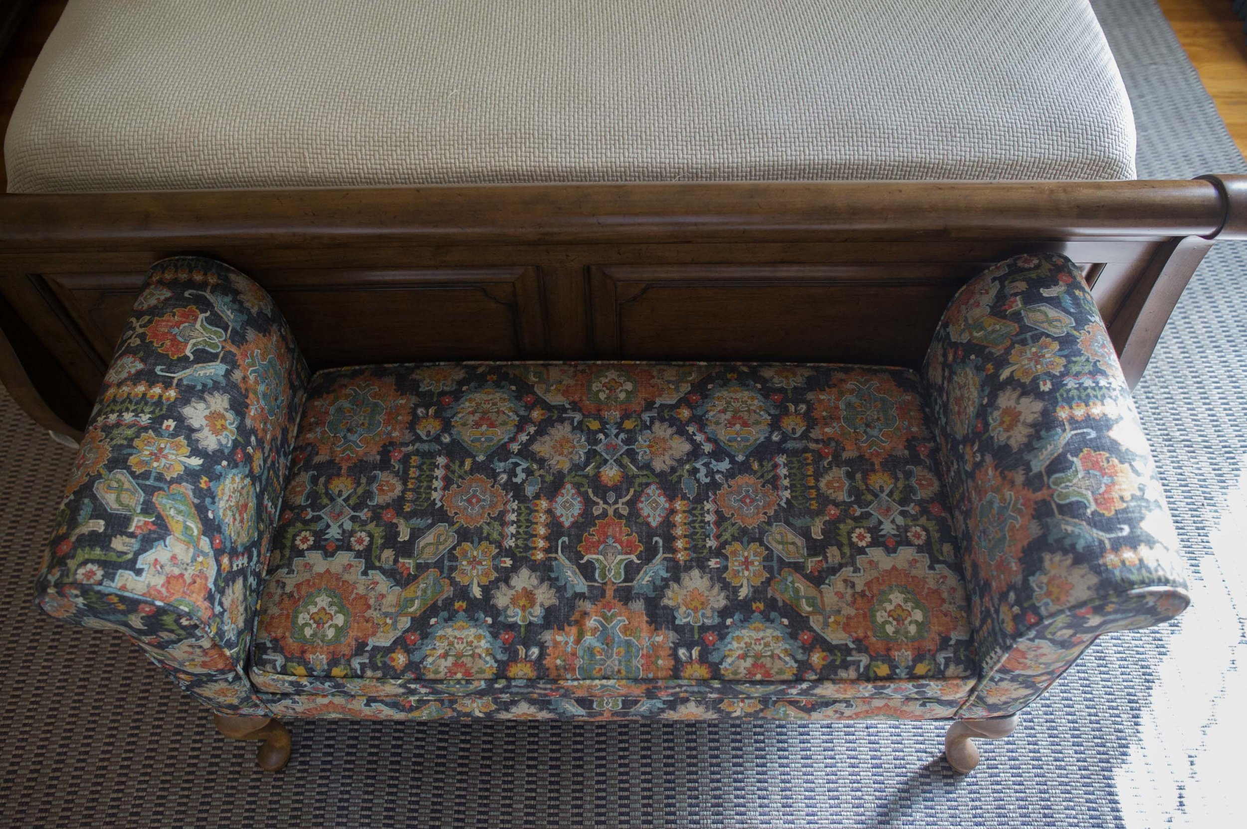 Reupholstered Bench in Carole Fabric