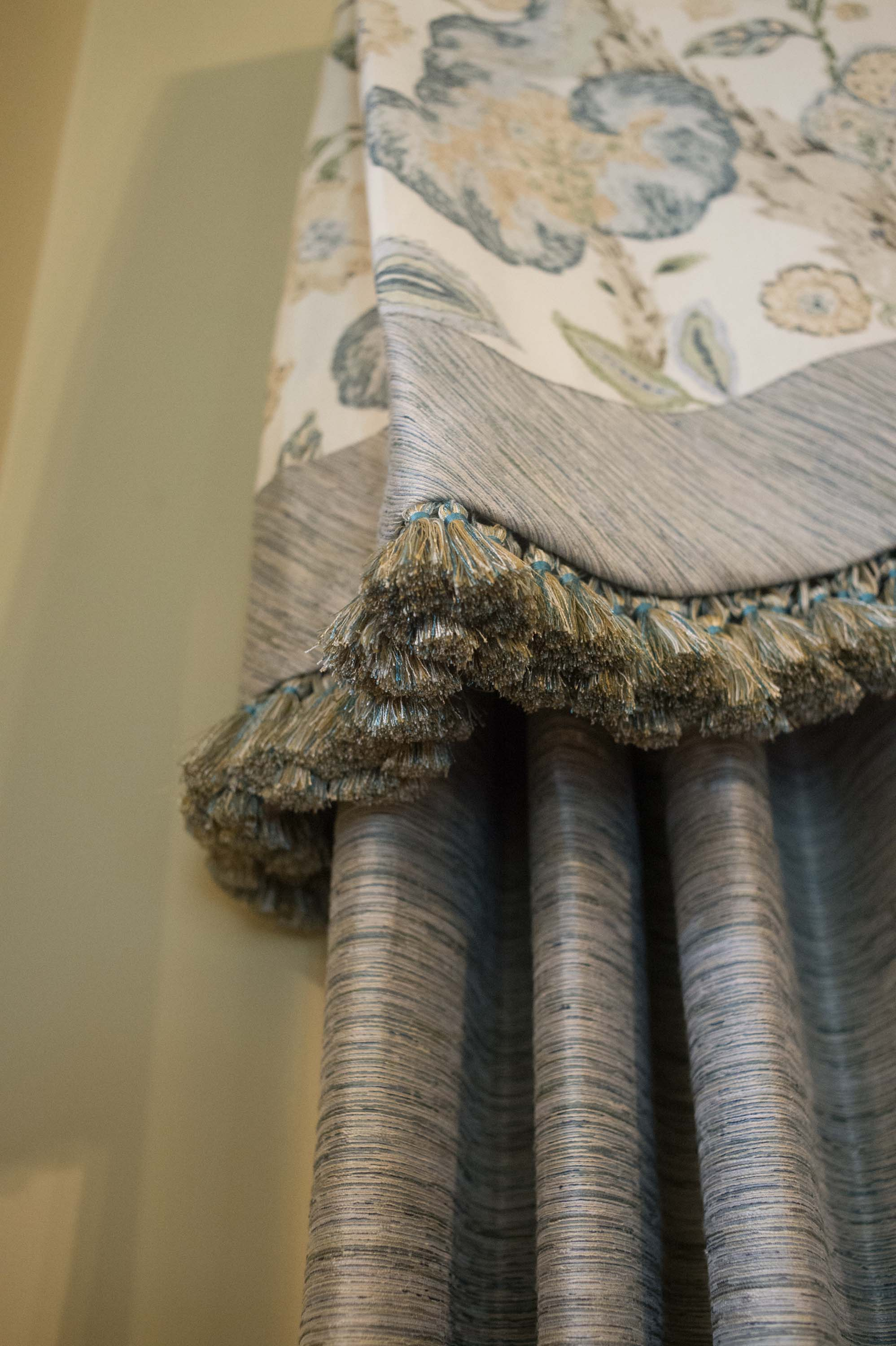 Lee Jofa Fabric with Fringe and Solid Panel Fabric