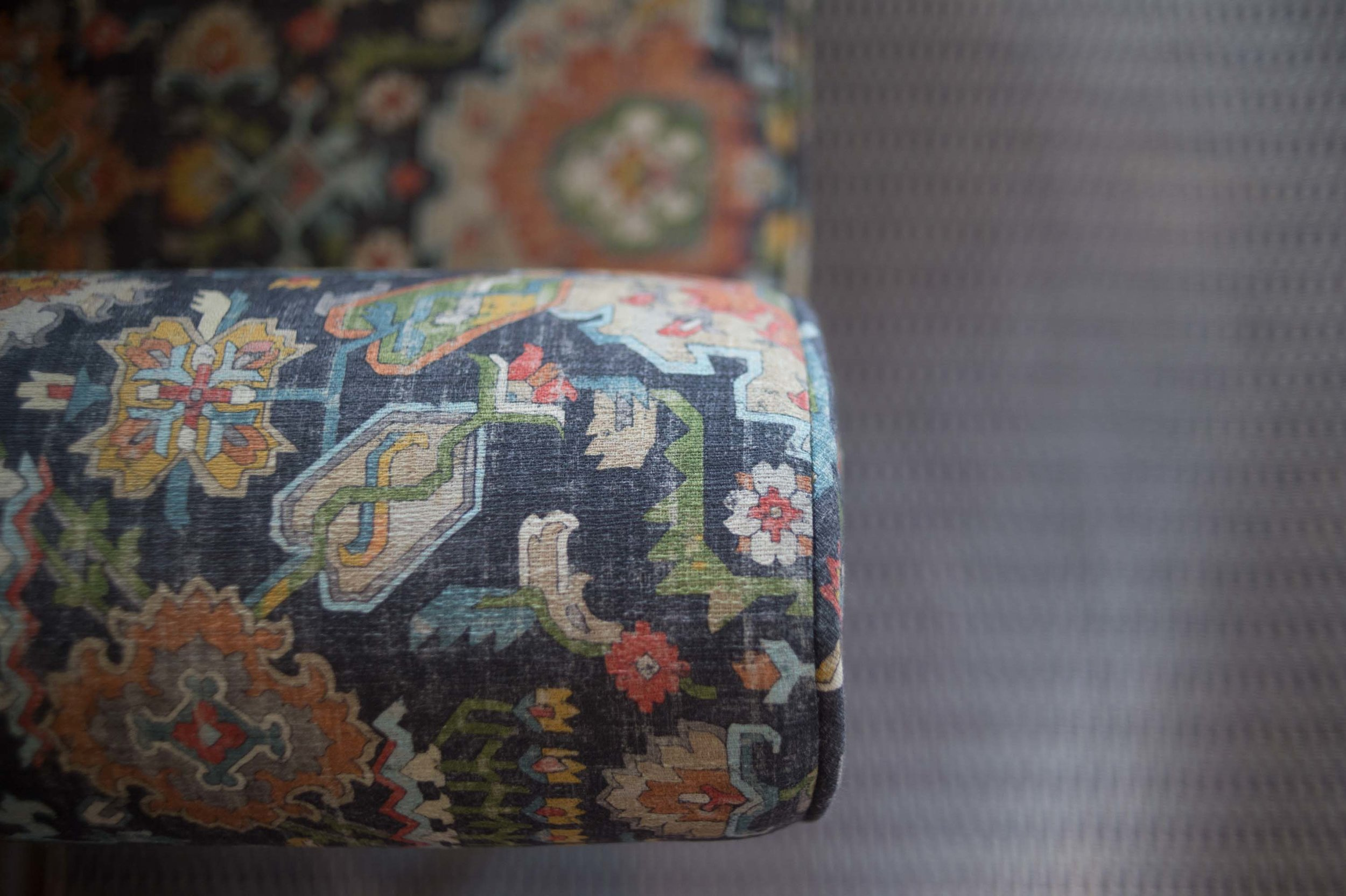 Printed Carole Fabric on Arm of Bench