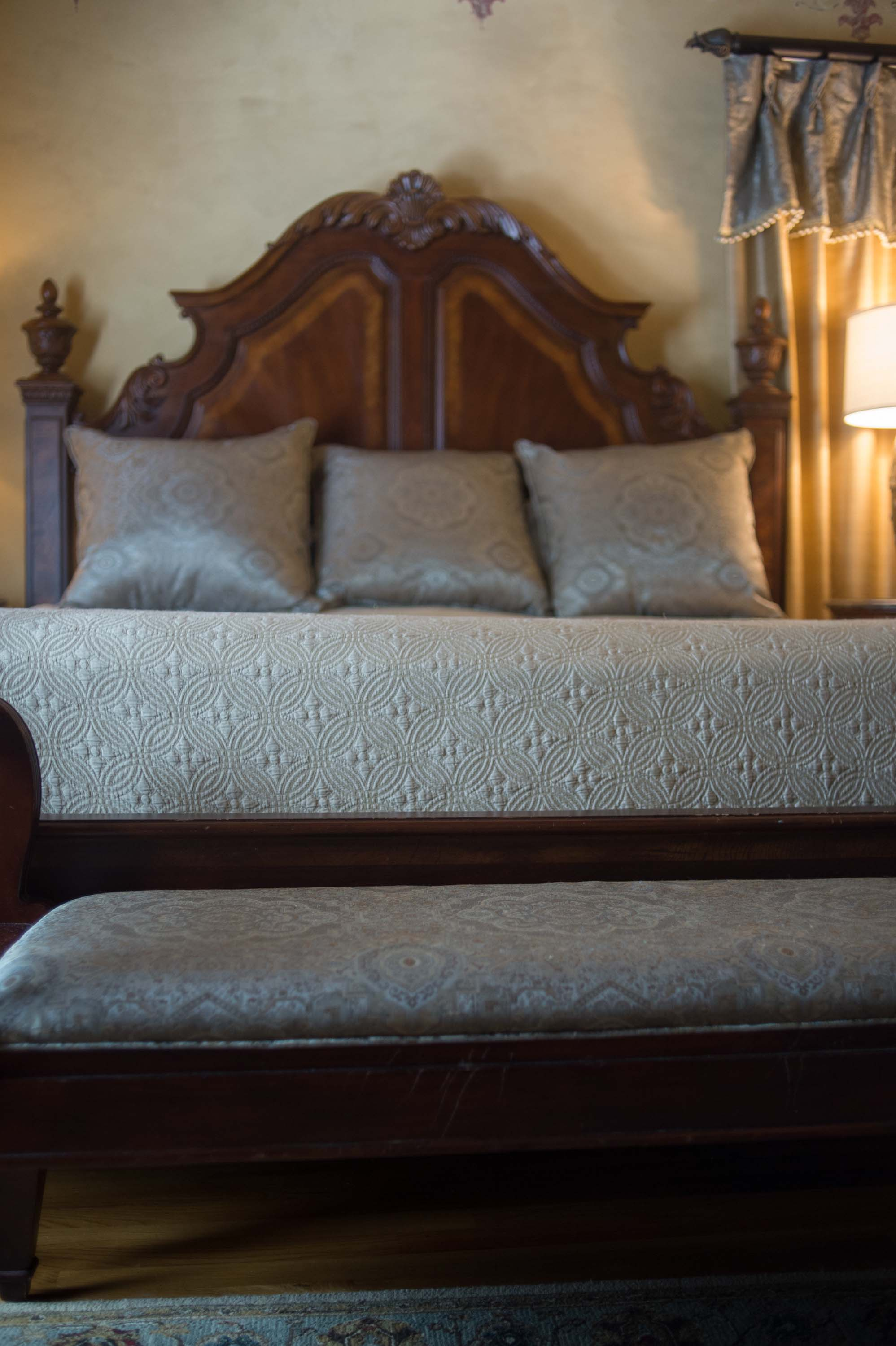 Master Bedroom Bedding with Legacy Euros and Coverlet