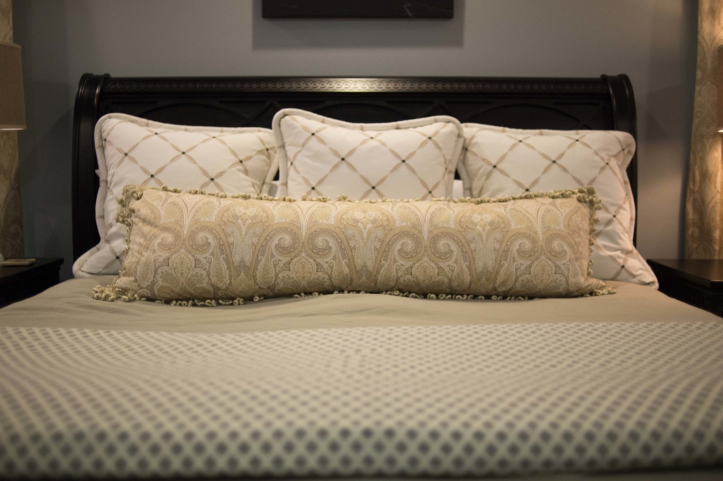 Custom Bedding with Euros, 19x60 Pillow, Coverlet and Bedscarf