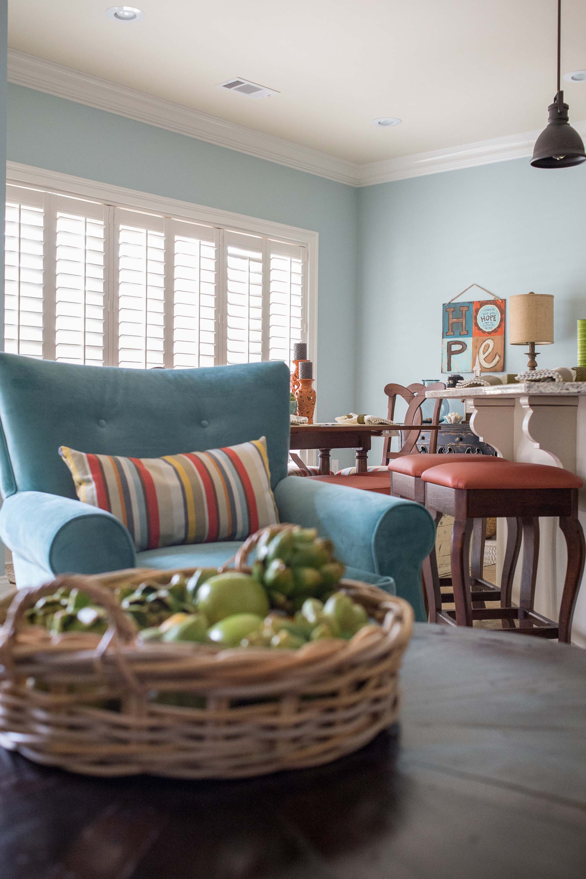 Poolhouse with Custom Furniture, Ottoman, Recovered Barstools and Artichokes