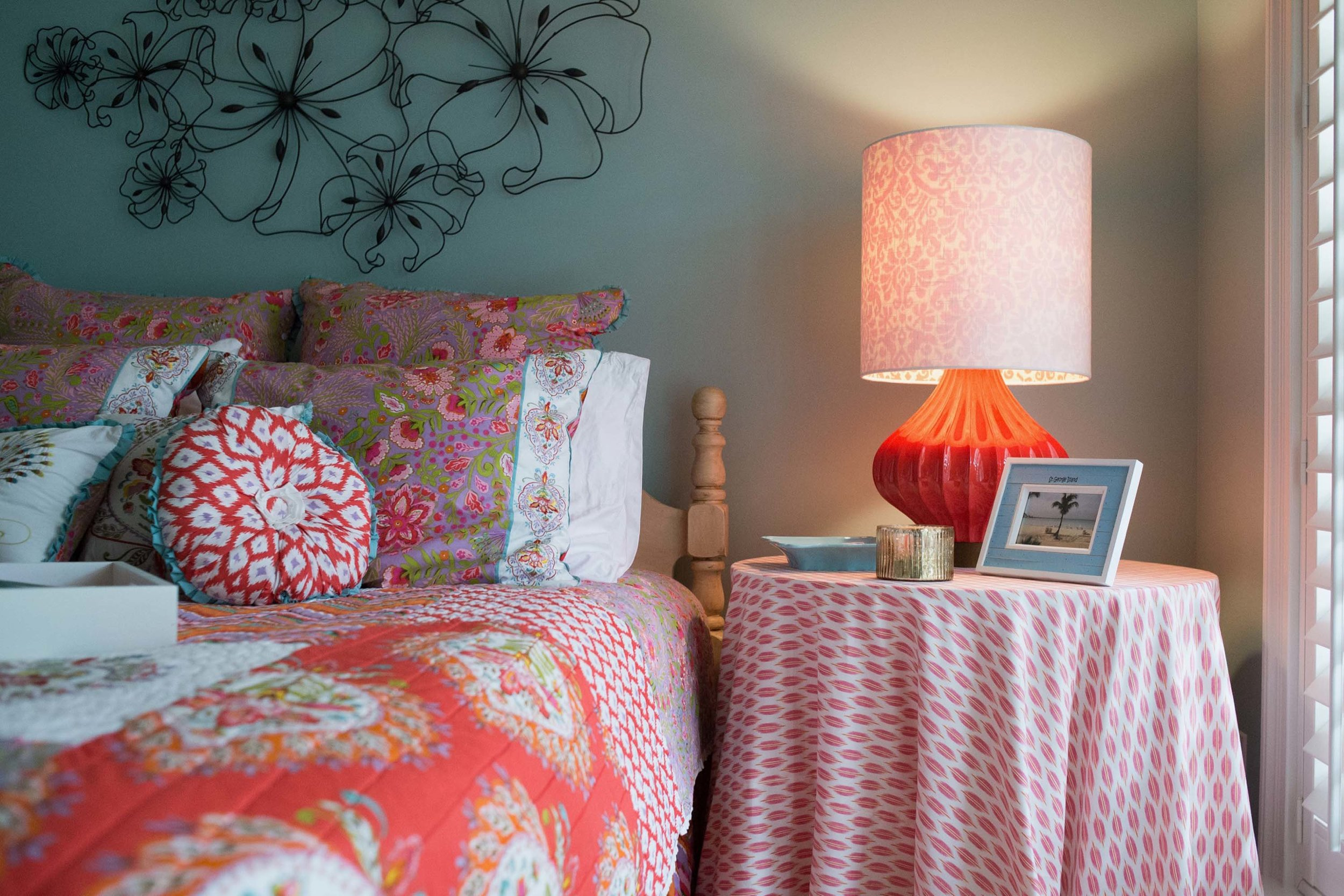 Colorful Guest Bedroom with Custom Tableskirt and Lamp