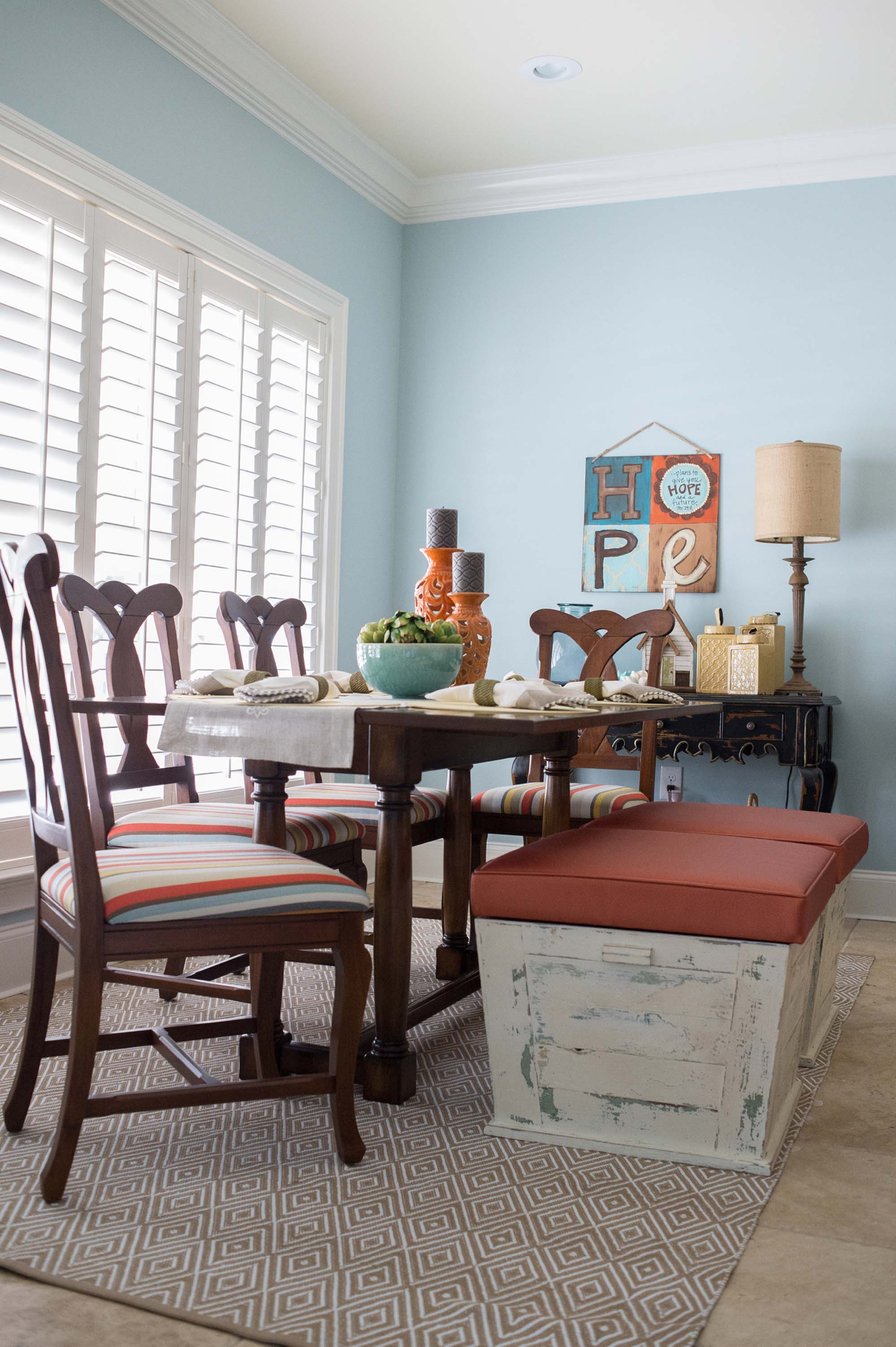 Large Table with Bench Seating and Rug