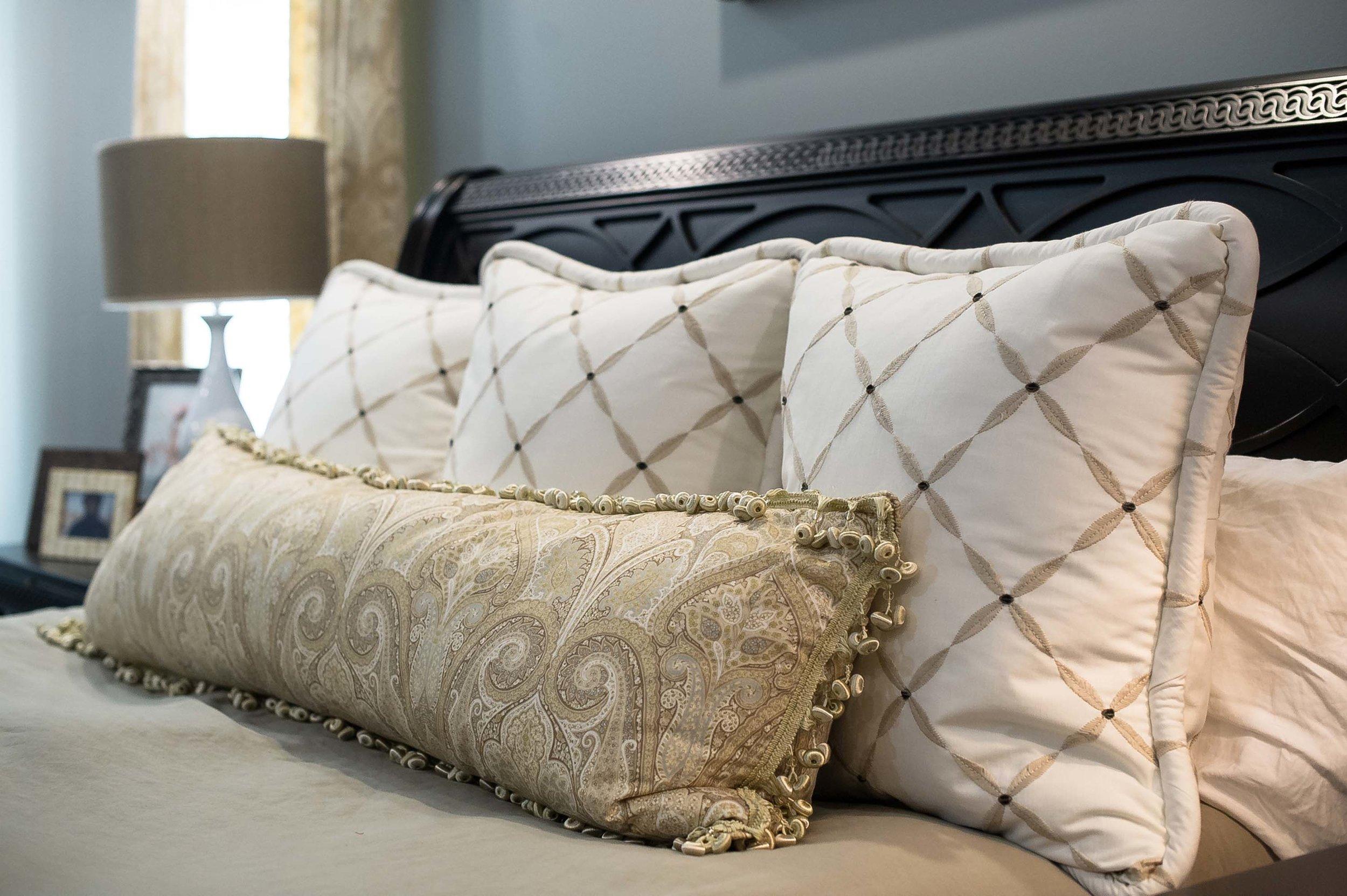 Custom Euros by Kravet and 19x60 Pillow with Fringe