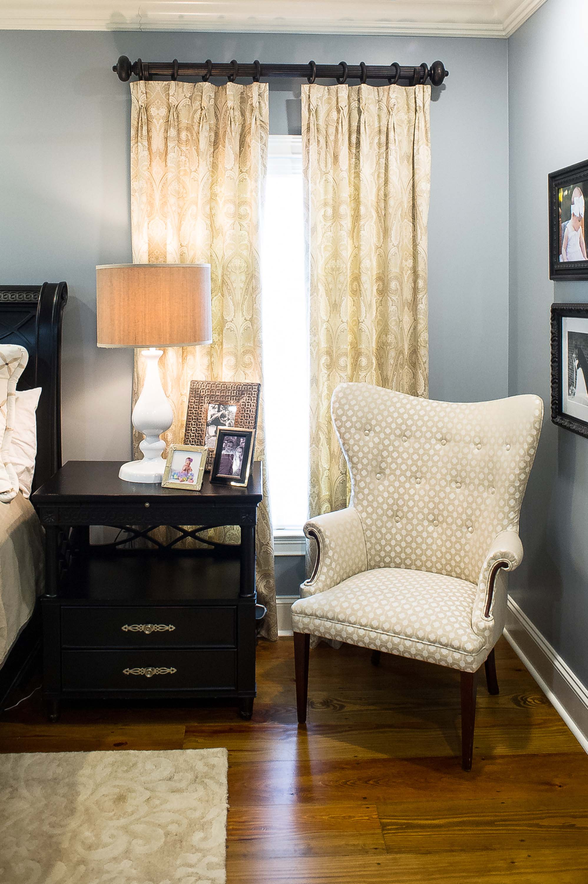 Custom Window Treatments, Upholstered Chair, Lamp and Area Rug