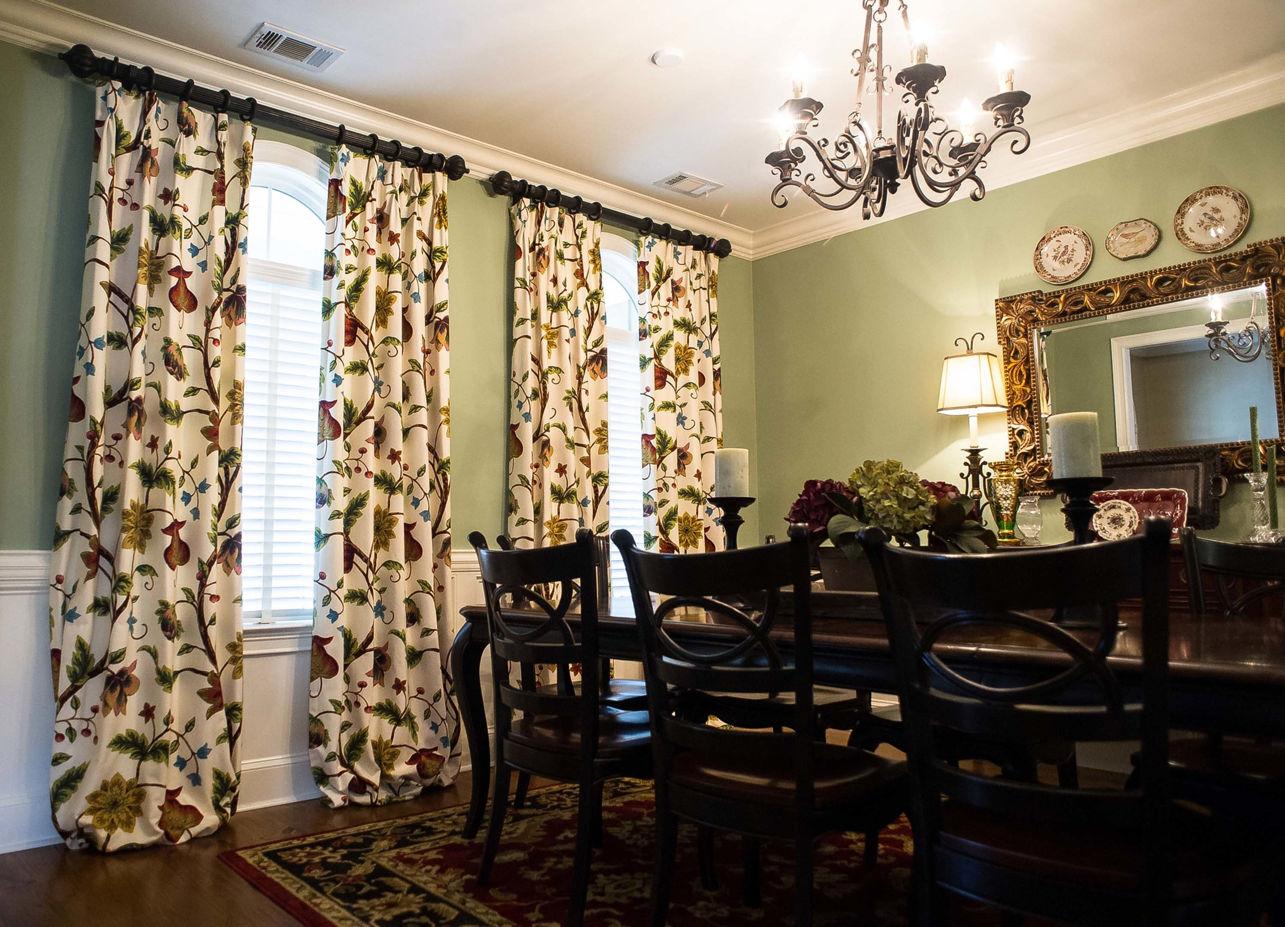 Custom Dining Room Window Treatments with Chandelier, Wooden Table and Mirror
