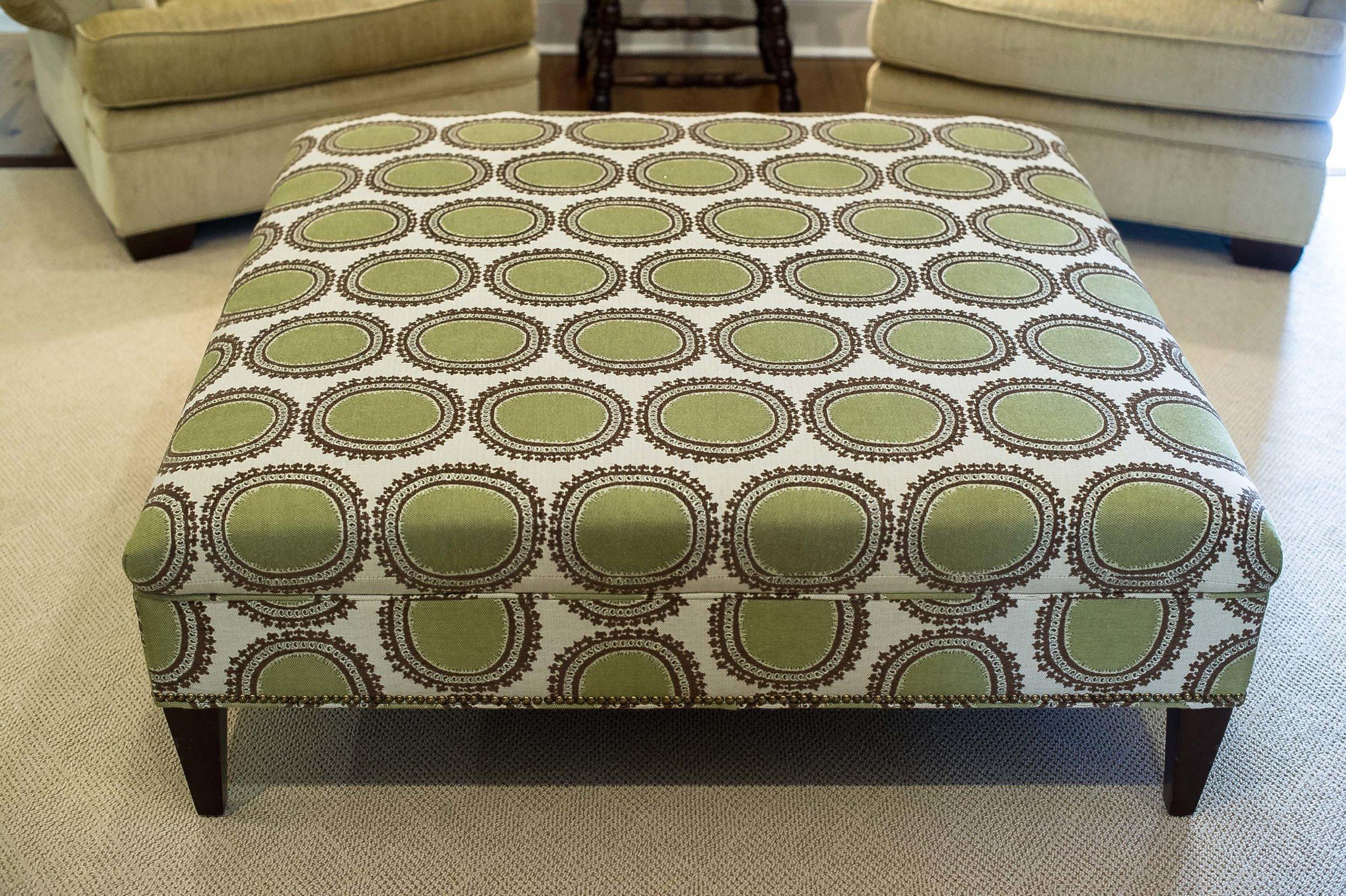 Green and Brown Circle Print Ottoman