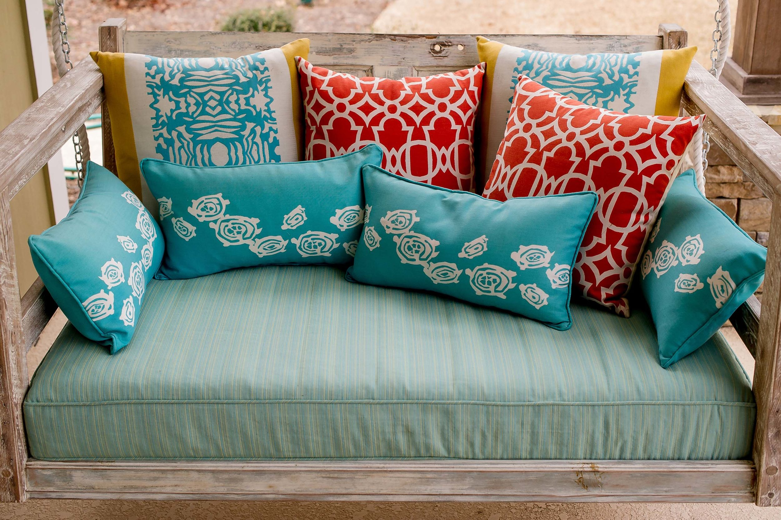 Blue and Coral Elaine Smith Outdoor Pillows