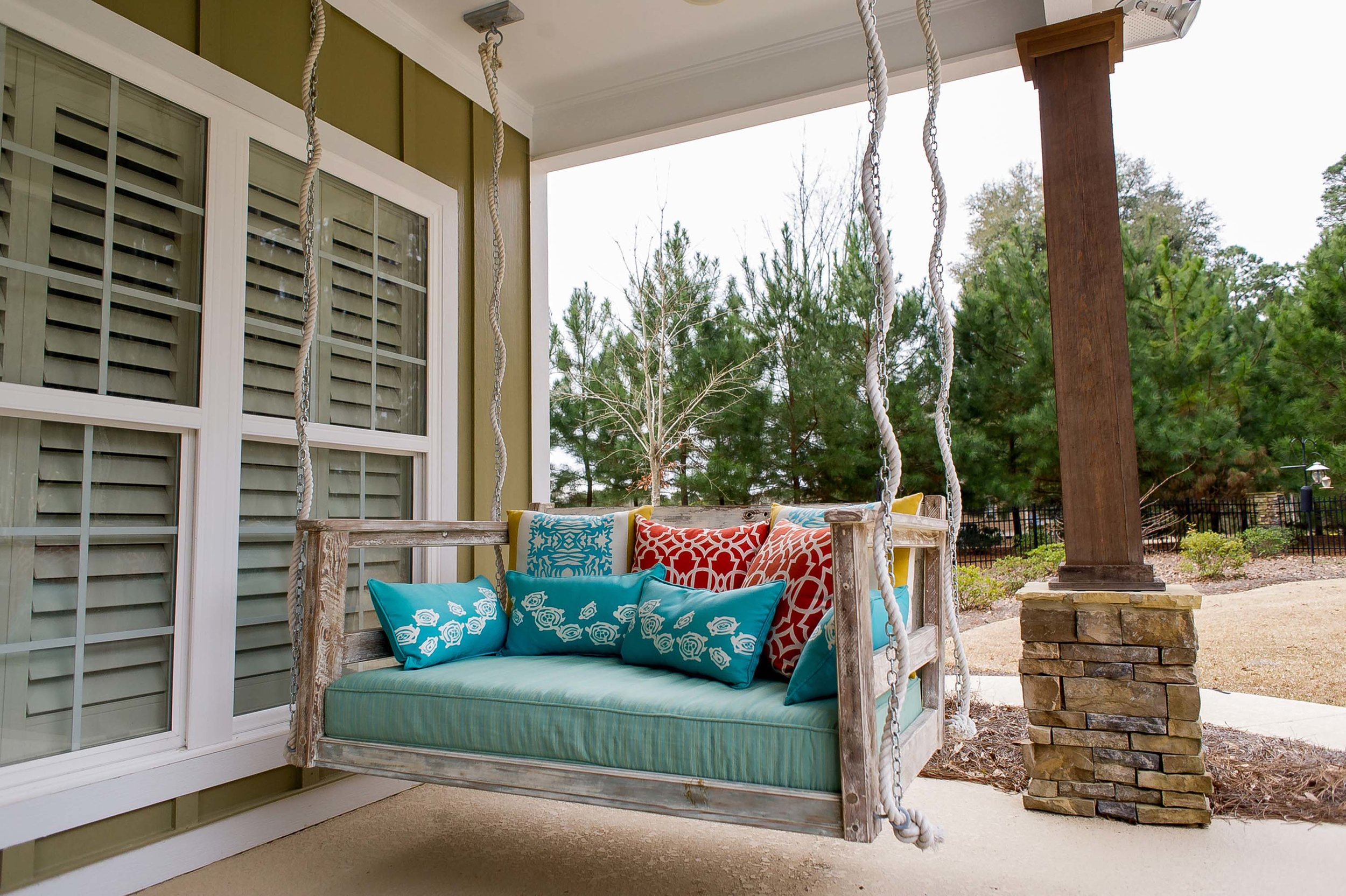 Custom Bed Swing with Outdoor Pillows