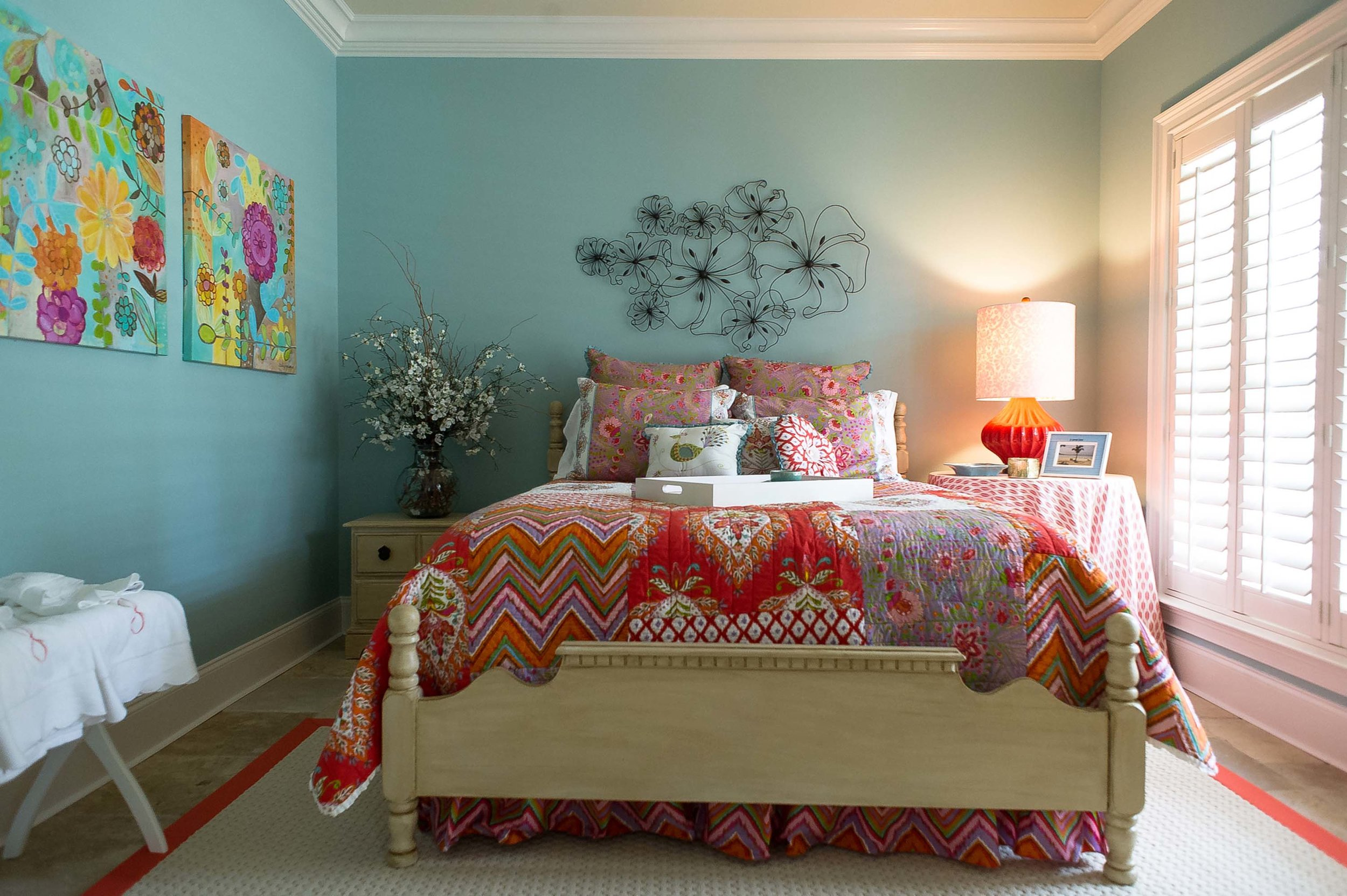Blue Guest Bedroom with Colorful Bedding