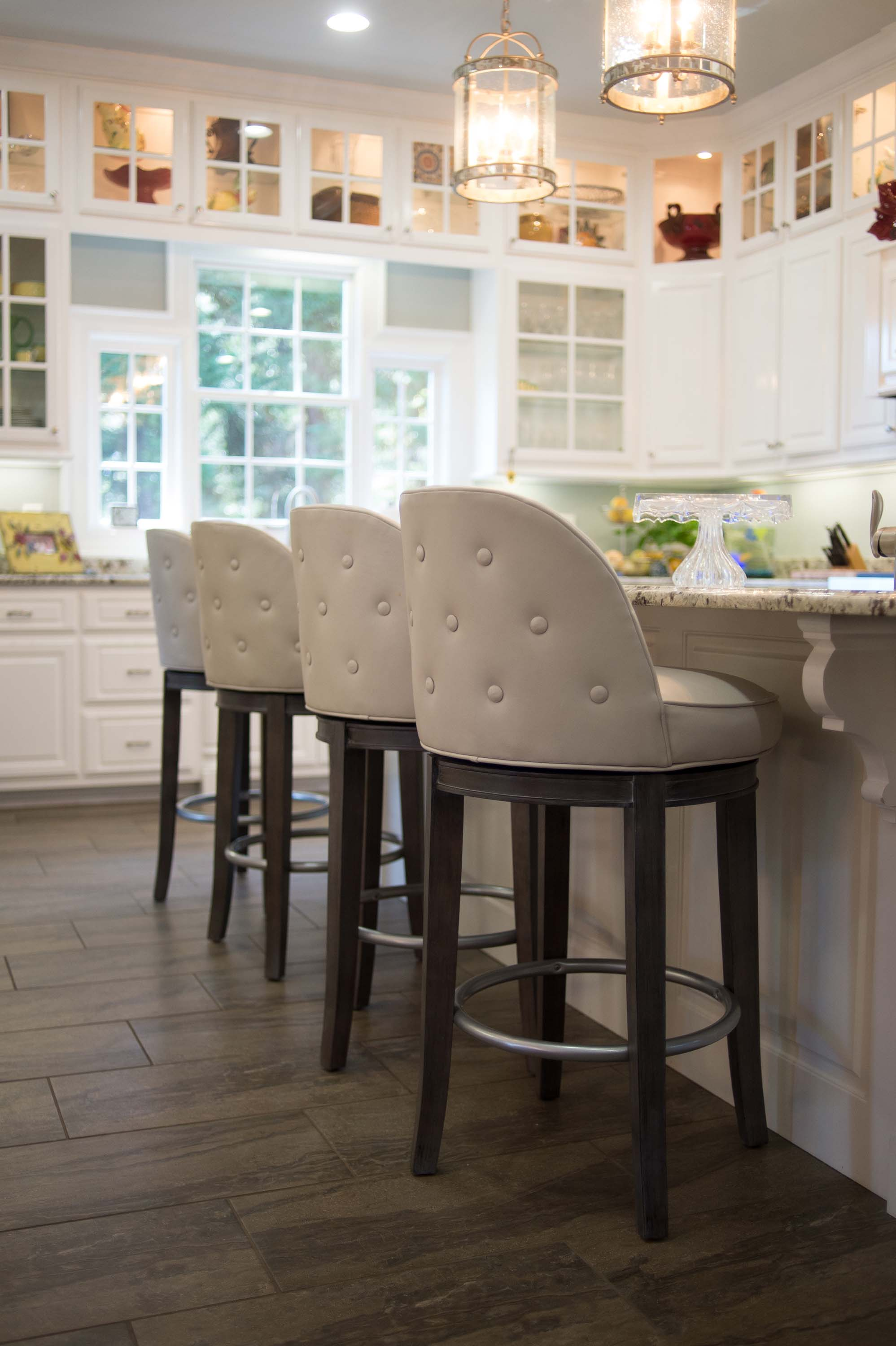 Custom Barstool with White Cabinets
