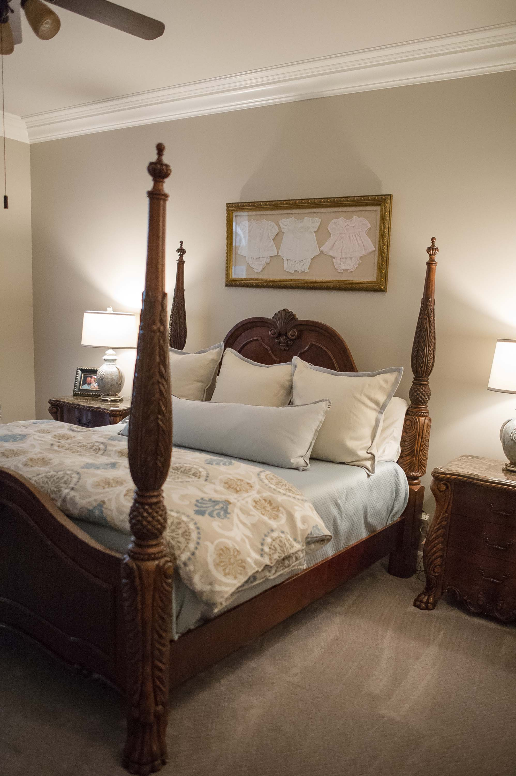 Master Bedroom with Custom Bedding and Artwork
