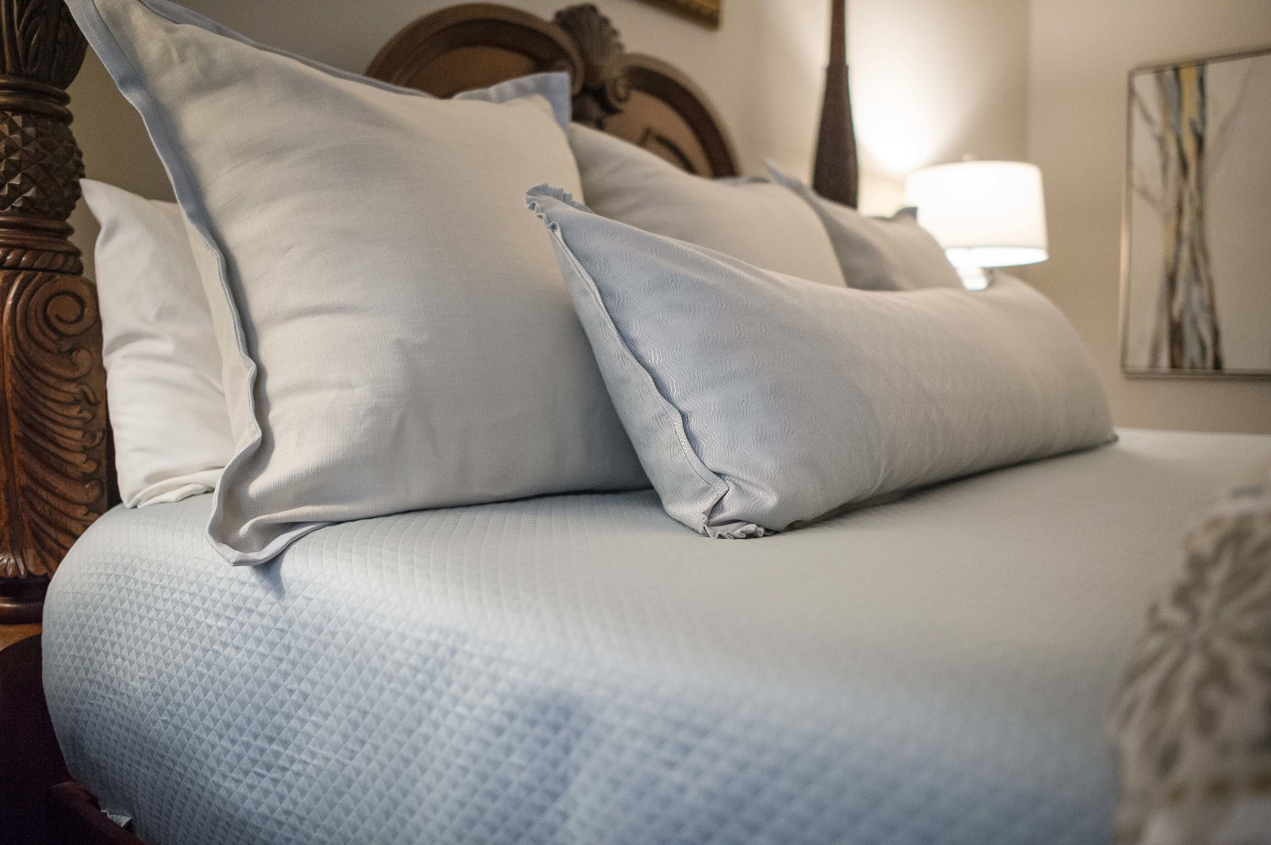 Custom Legacy Bedding with Euros and 19x60 Pillow