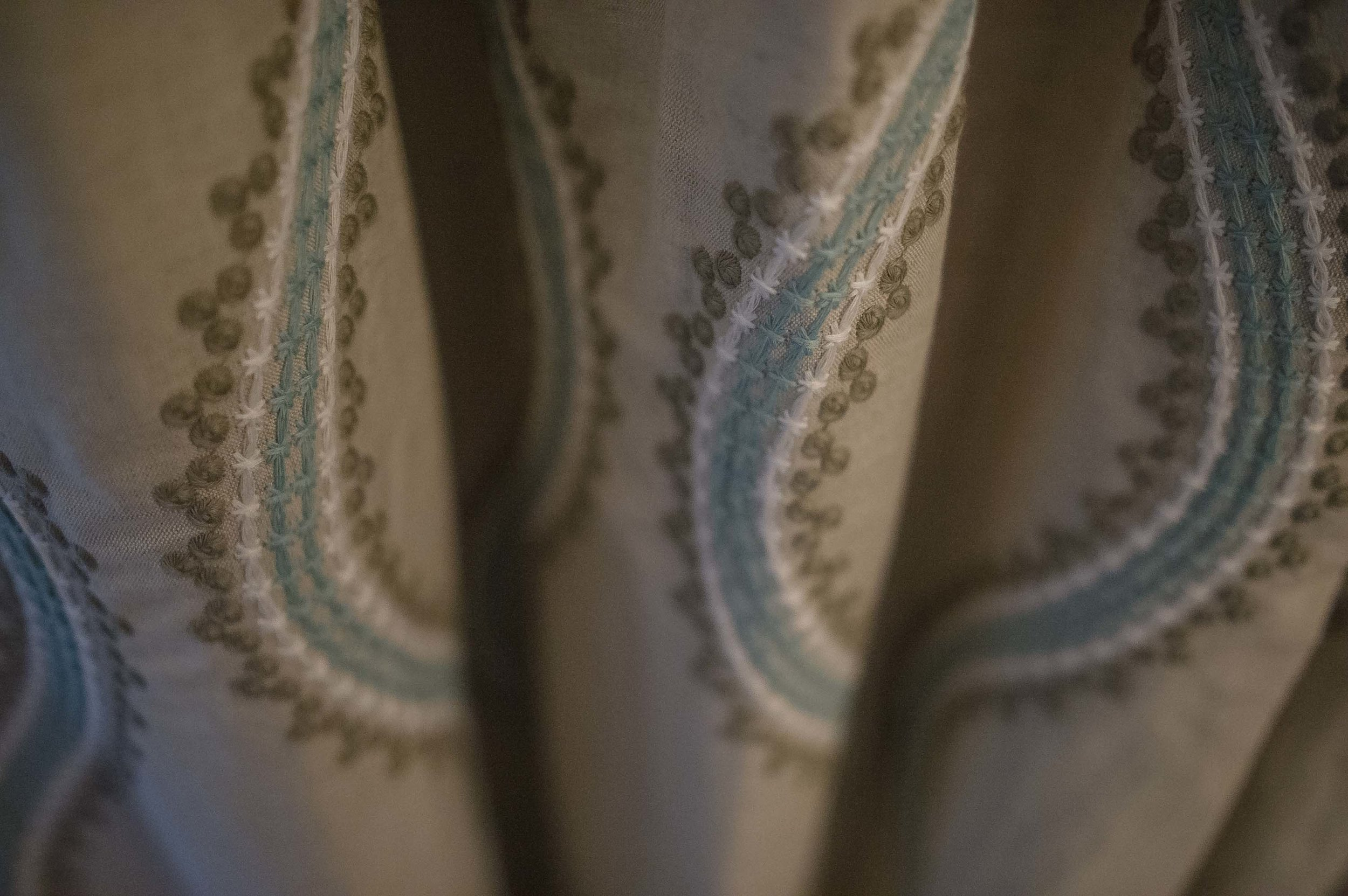 Custom Thibaut Window Treatments with Blue and Tan Accents
