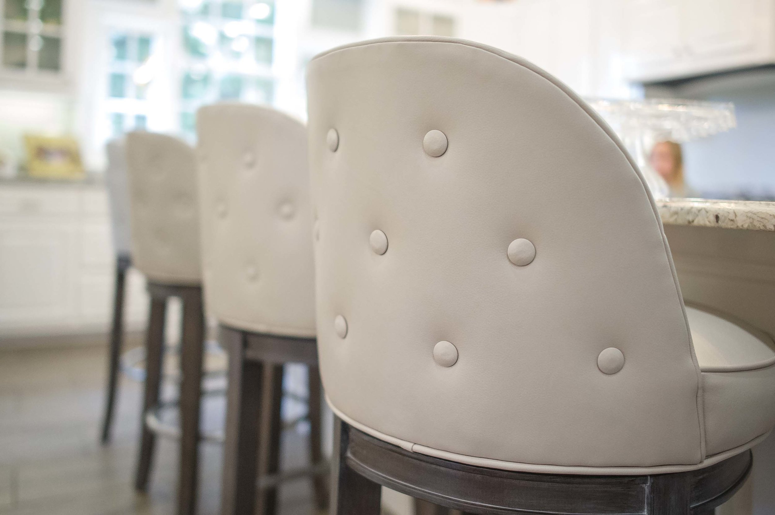 Cox Leather Barstool with Back Button Detail