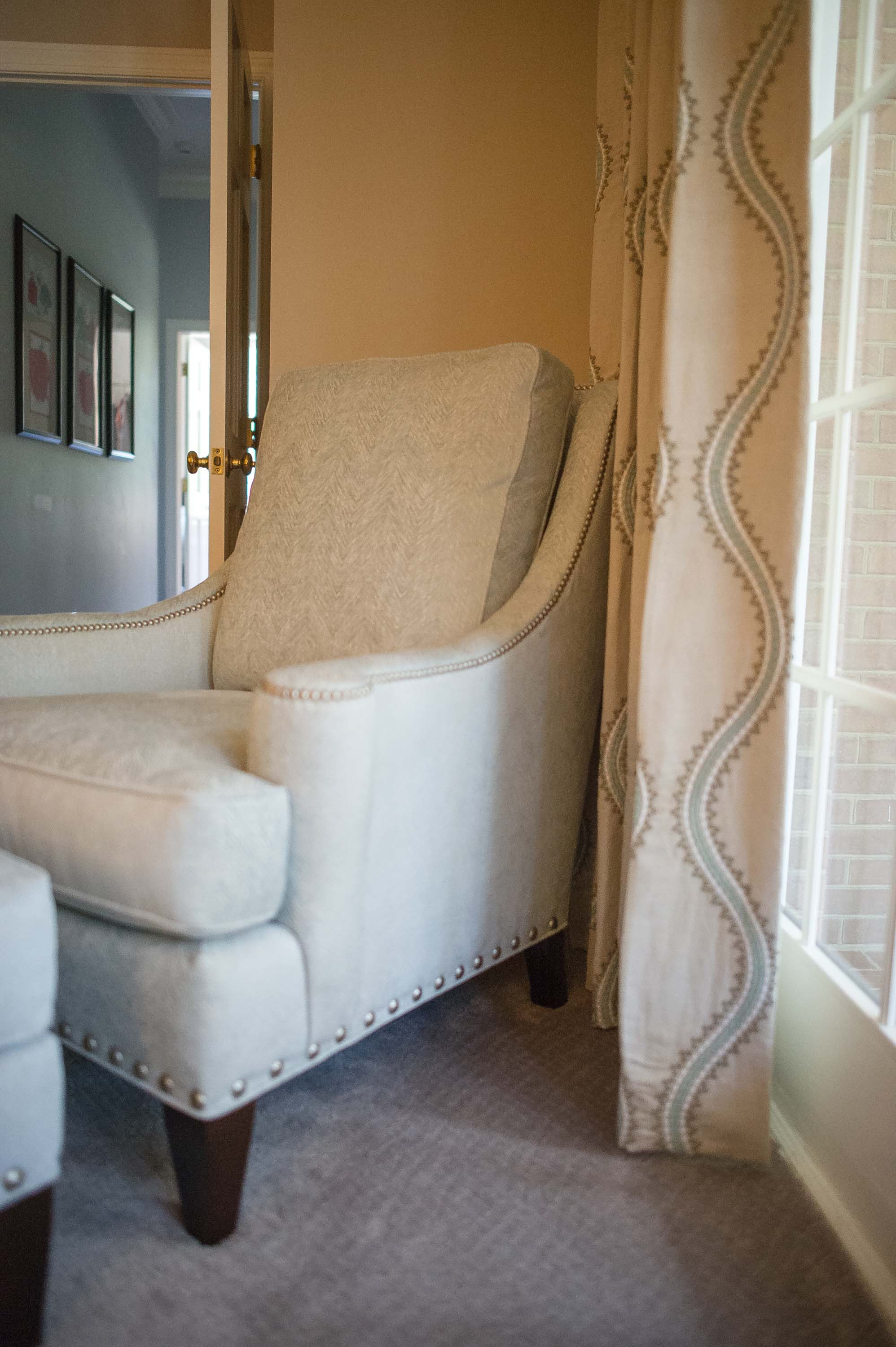 Custom Chair in Solid Fabric with Thibaut Fabric