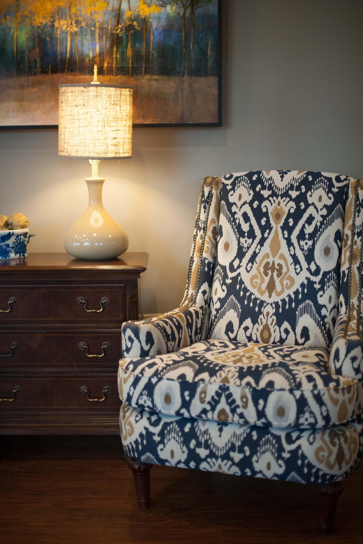 custom upholstered chair in waiting room