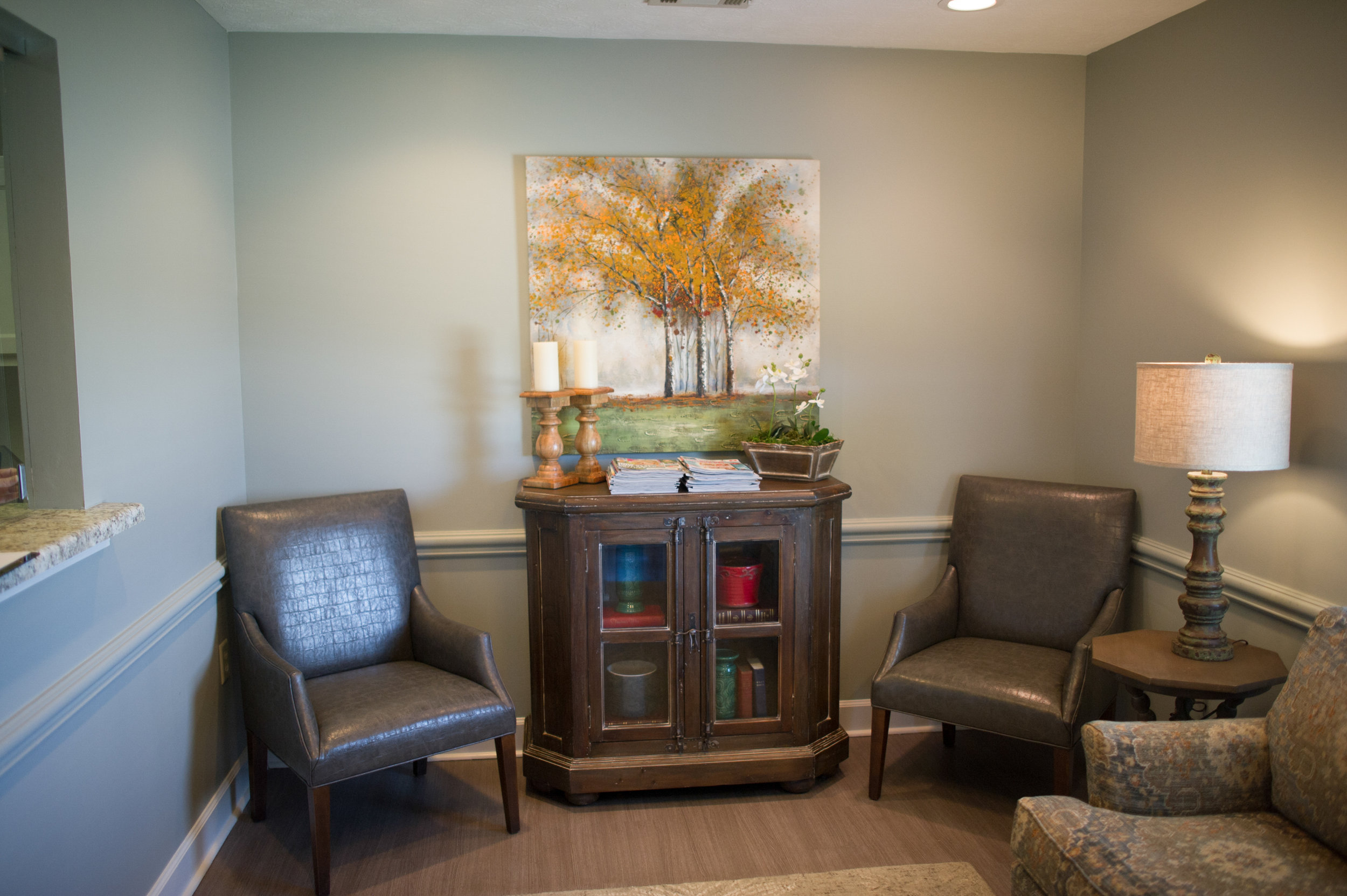 patient waiting area with seating