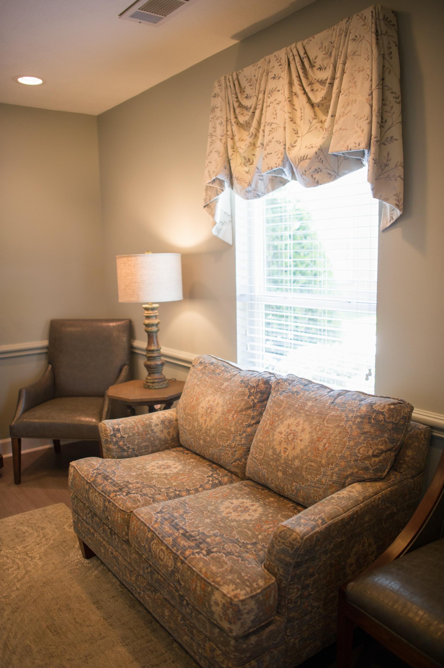 upholstered sofa in dentist waiting room