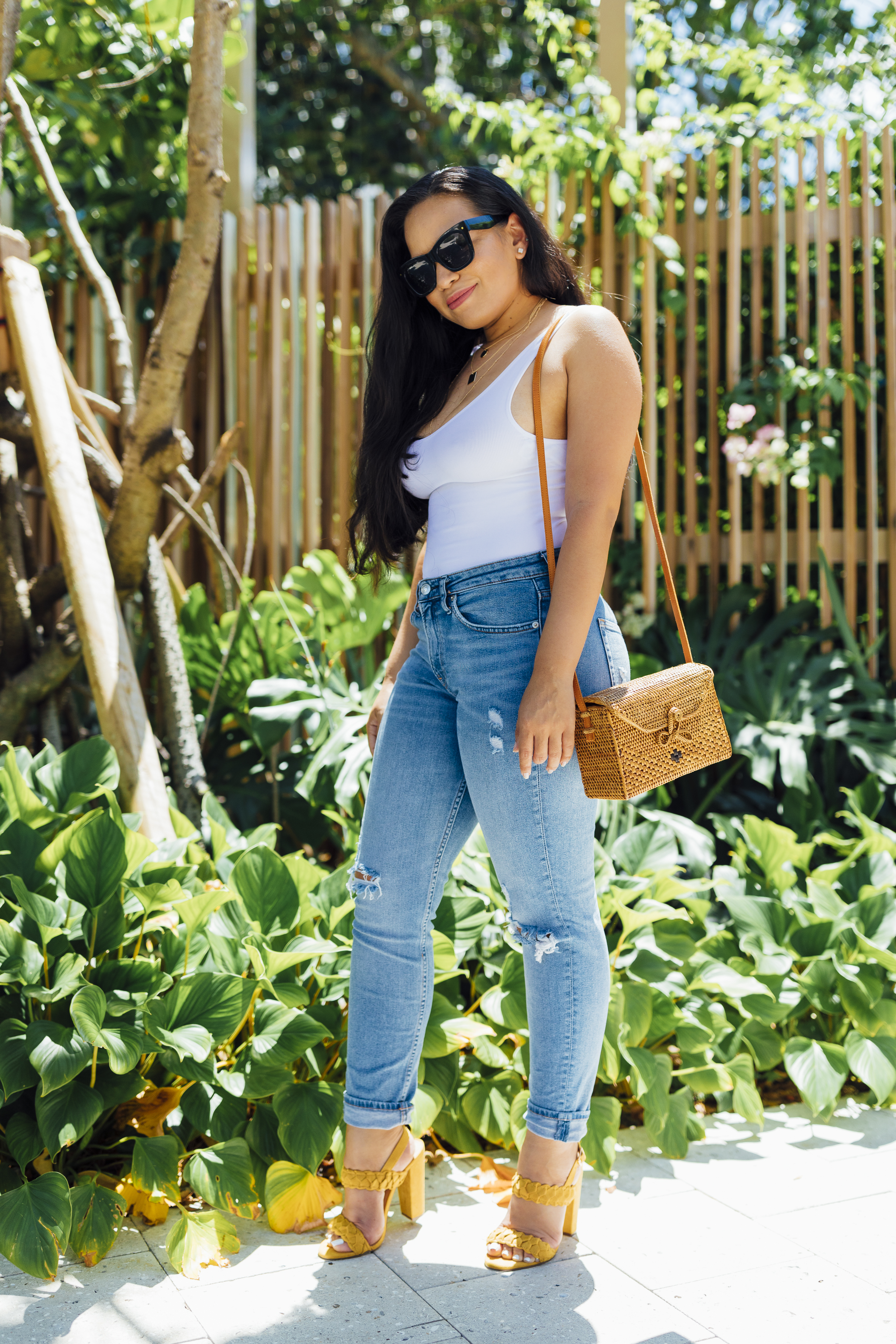 Forever 21 Bodysuit Light Wash Ripped Jeans Amerii Purse and Yellow Block Heels.jpg