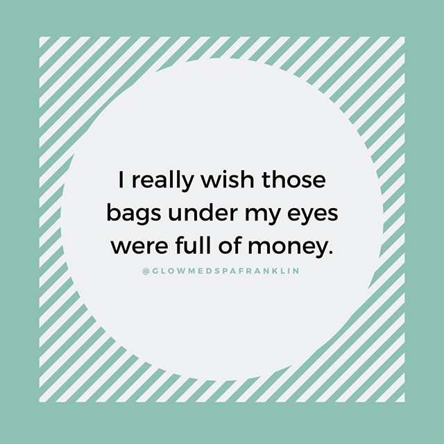 Don't we all?! ⠀ ⠀ Give your under eye baggage some love (aka say goodbye to them forever) and talk to one of our nurse injectors about tear trough filler! ⠀ ⠀ Link in bio +