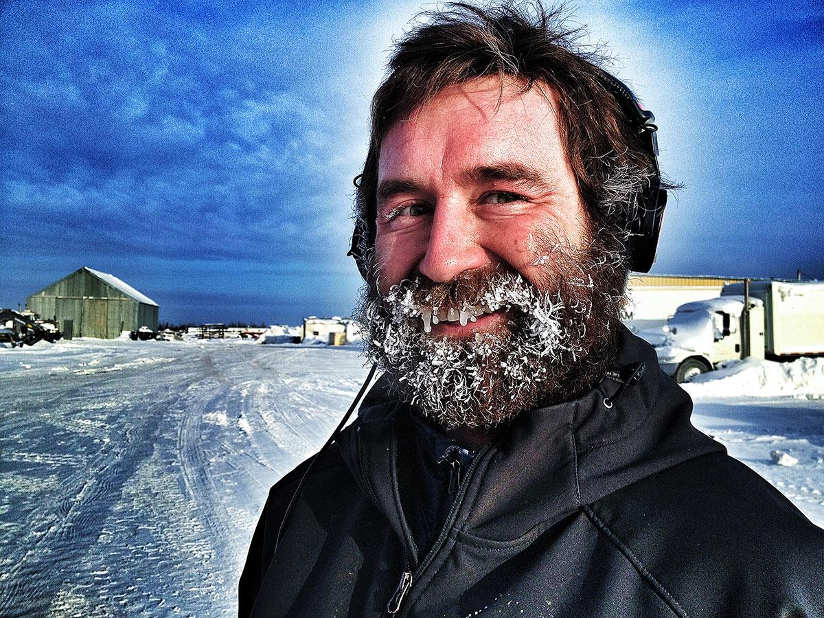 """Allen Kelley on set of History Channel's """"Ice Road Truckers"""""""