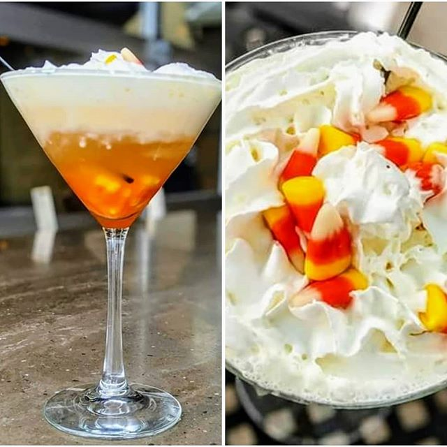 How cute is this candy corn martini?! All three locations! Chili, Victor & Sodus Point #six50 #six50victor #six50chili #six50sodus #candycorn #martini #cocktails #tasteoffall #fallweather #rochestereats #yum