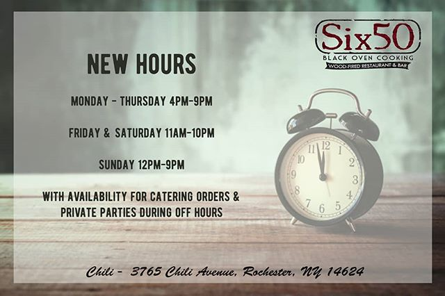 Starting today September 16th, our Chili location will be doing dinner only Mon-Thurs. With availability for catering orders and private parties on the off hours. Check out our new hours ***Chili Location Only #six50 #six50chili #newhours #timechange #fallhours