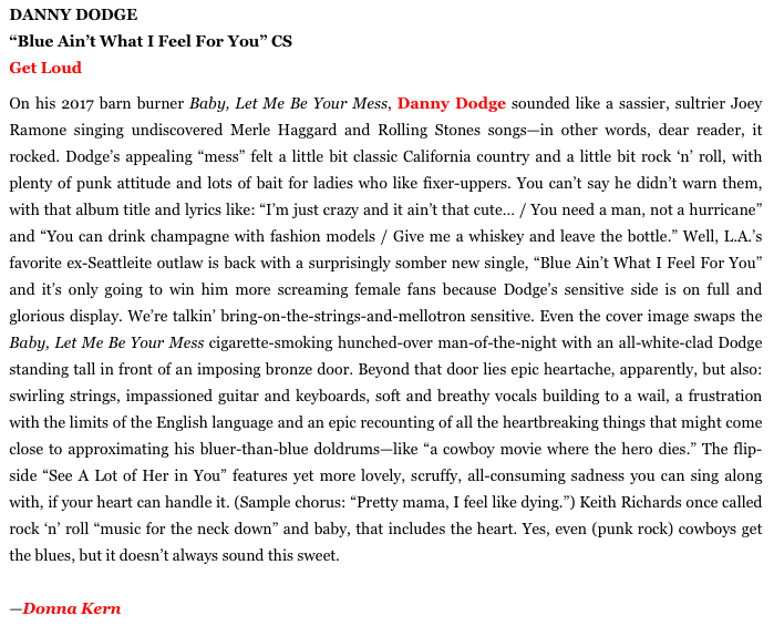 Danny Dodge %22Blue Ain't What I Feel For You%22 review L.A. Record.png