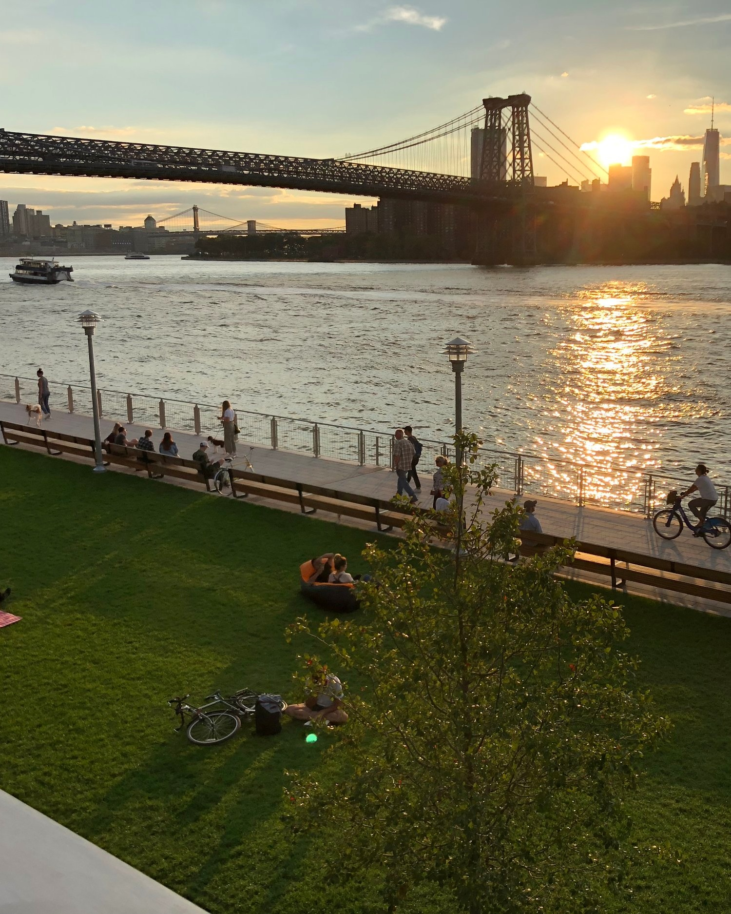 """""""Personally, I think the best time to go is in the evening."""" - """"The Park is beautifully lit and the reflection of the lights from the Artifact Walk, as well as the Williamsburg Bridge, onto the water is seemingly breathtaking."""" -Basmajian"""