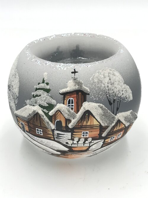 """Christmas Candle holder red 12-1//2/"""" circumference x 4/"""" made in Czech Republic"""