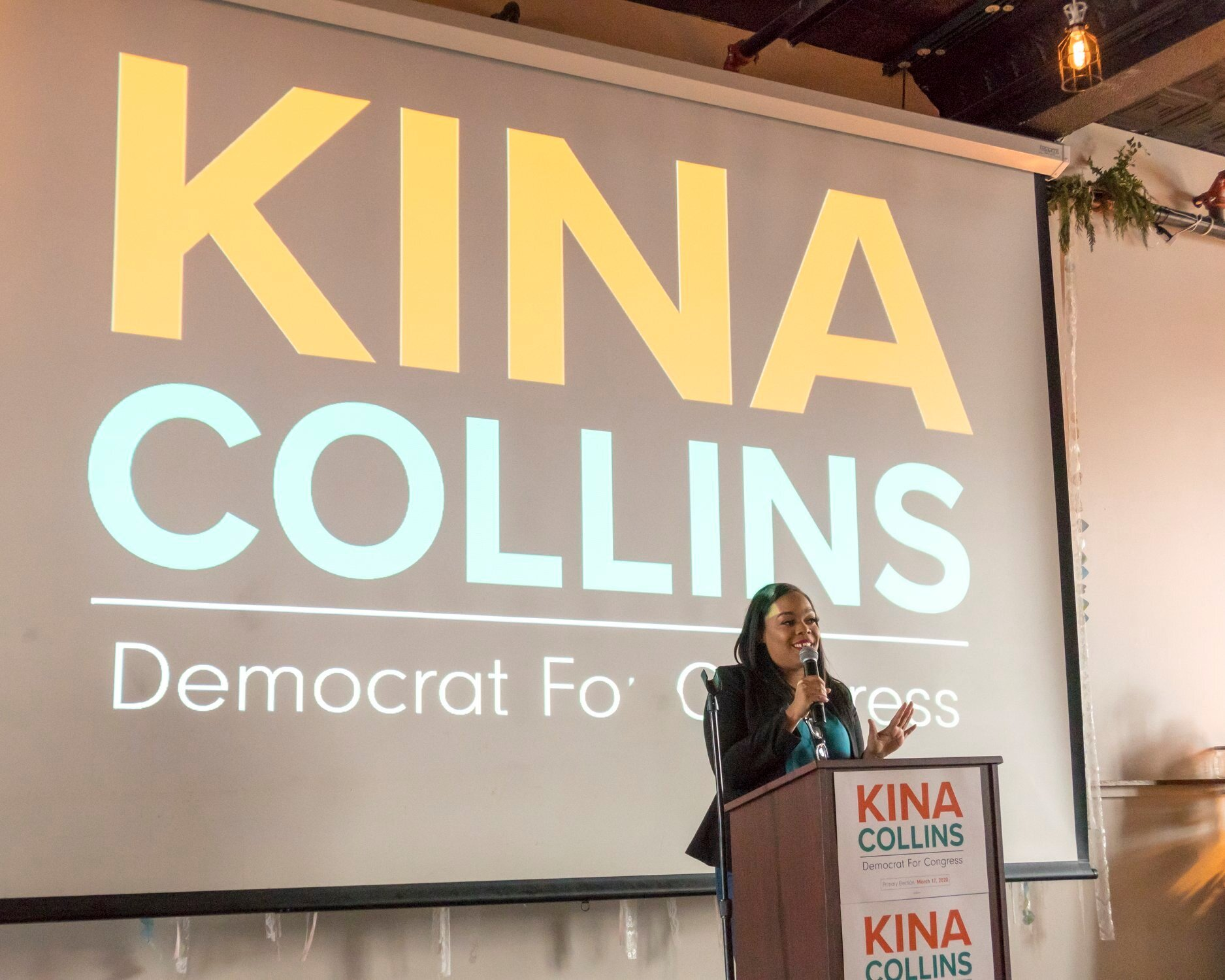 Kina speaking at the campaign kickoff event.