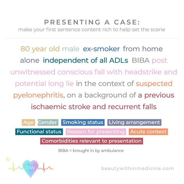 When presenting a case, start with a concise information-dense first sentence to set the scene . ⠀⠀⠀⠀⠀⠀⠀⠀⠀ ⠀⠀⠀⠀⠀⠀⠀⠀⠀ A different picture is painted if your patient is from home alone vs. home with family vs. from RACF (Residential Aged Care Facility) or NH (Nursing Home). ⠀⠀⠀⠀⠀⠀⠀⠀⠀ ⠀⠀⠀⠀⠀⠀⠀⠀⠀ Similarly, the patient's baseline or 'premorbid' functional status can significantly effect management, ceiling of care and discharge planning.  Indicating if the patient is independent of all activities of daily living (ADLs) creates a very different narrative to a patient who is dependent for all ADLs. ⠀⠀⠀⠀⠀⠀⠀⠀⠀ ⠀⠀⠀⠀⠀⠀⠀⠀⠀ So before launching into your presentation set the scene. This is one approach, but find a system that works best for you and stick with it!⠀⠀⠀⠀⠀⠀⠀⠀⠀ ⠀⠀⠀⠀⠀⠀⠀⠀⠀ #longcase #presenting #medicine #patient #doctor #nurse #hospital #osteopathy #physiotherapy #dietician #occupationaltherapy #socialwork