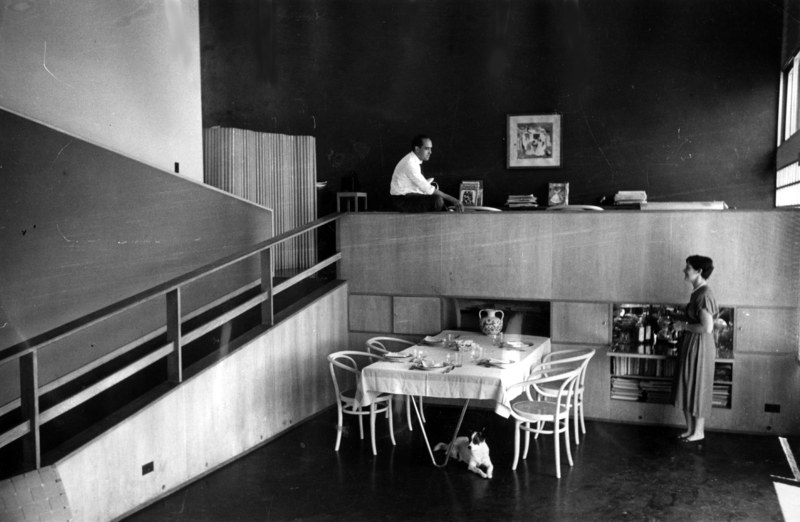 Brazilian architect Oscar Niemeyer, seen here (top left) in his Rio de Janeiro home with his wife and dog. Niemeyer is considered one of the torchbearers of modern architecture, with Cathedral of Brasília and Palácio do Planalto (official office of the Brazilian president) among his most famous designs.