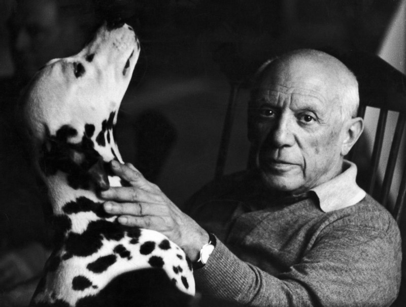 Picasso had many loves. Everyone knows of the Spanish-born artist's affinity for art; many others know of his passion for women (Picasso had multiple wives, and many more mistresses). Yet what's lesser-known is the artist's love for dogs. He had several throughout his long life. Pictured here was one of his favorites, a Dalmatian creatively named Perro (the Spanish word for dog).