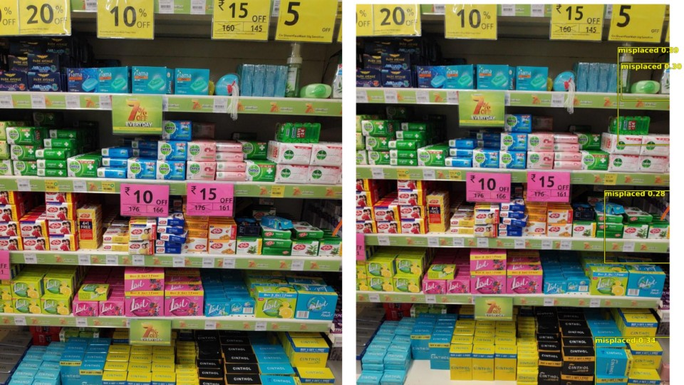 Original image (L) — Our model identifying misplaced products (R)