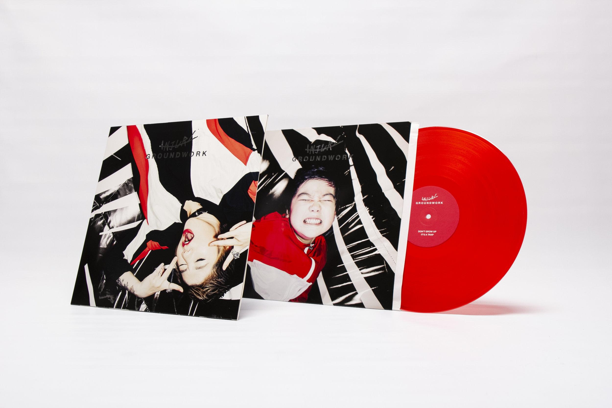 Dual-cover art of INJURY's 'Groundwork' vinyl album