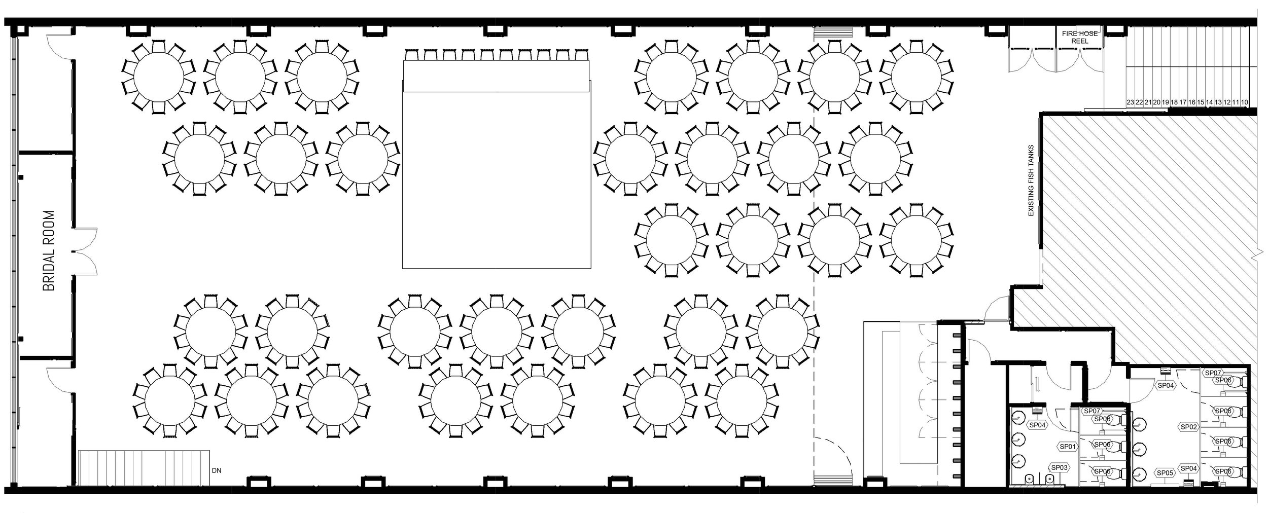 Standard floorplan for 320pax (32 tables)