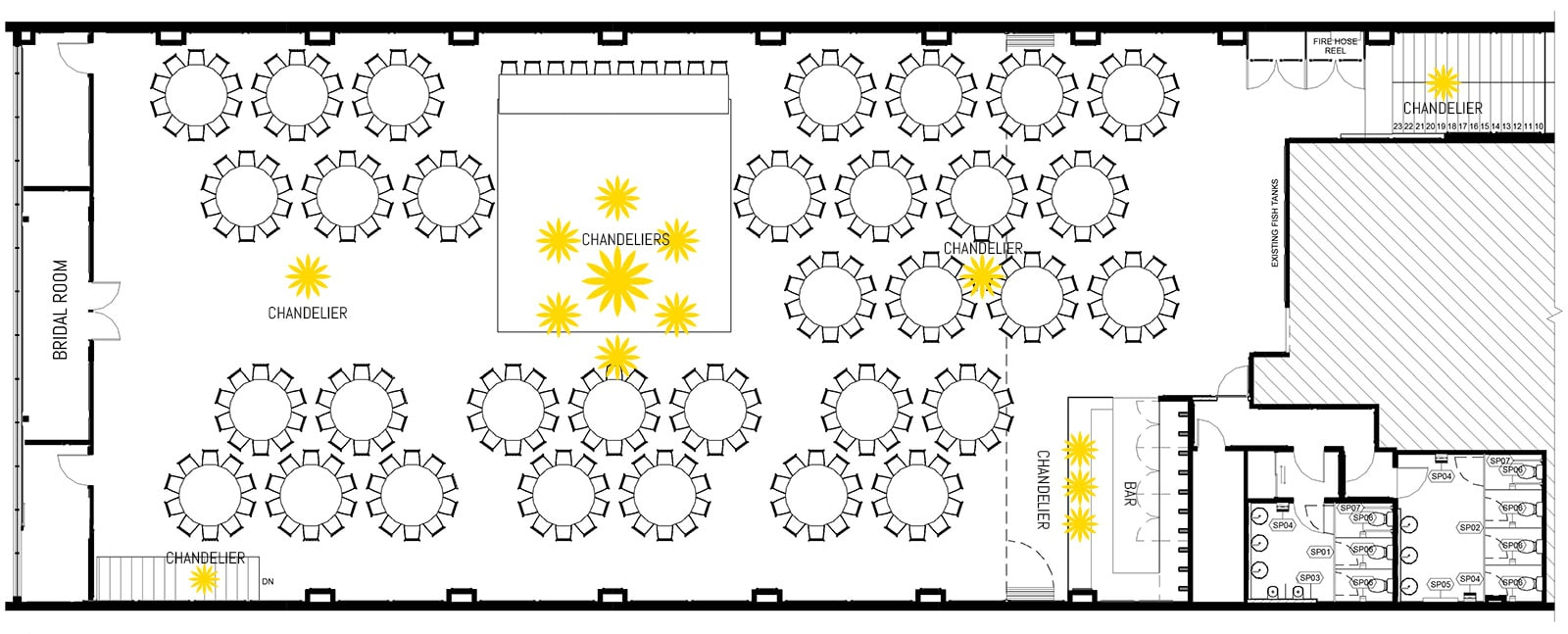 Floorplan of 320 pax (32 tables)