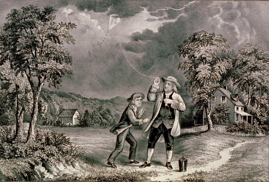 Ben Franklin's Famous Experiment To Capture Electricity on 10 June 1752. Public Domain via  Titanic News Channel