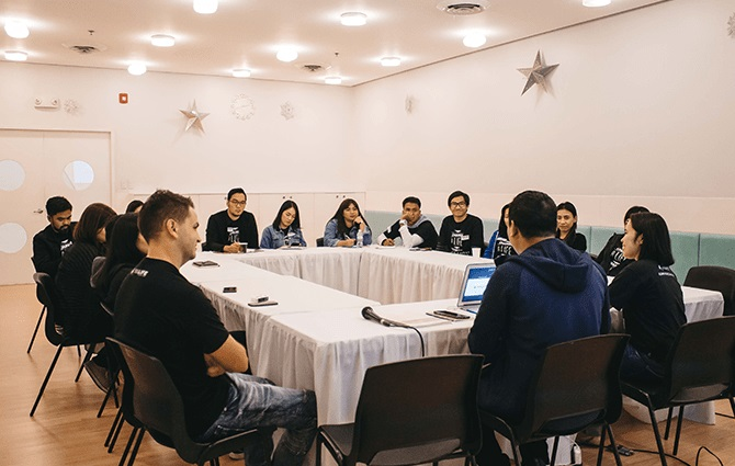 The Metro Manila Hub Coordinator, Jod Gonzales, and Regional Coordinator for Mindanao, Melinda Saquin, shared with the incoming character development coordinators their experiences and some key ideas in teaching scholars how to depend on God as they face personal problems.