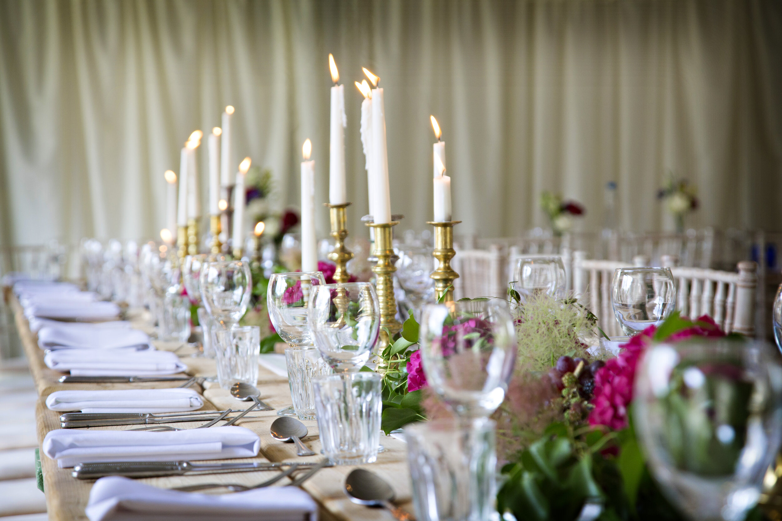 The wedding breakfast - Choose a three course meal from our Bronze, Silver or Gold Menu in our fully heated greenhouse marquee