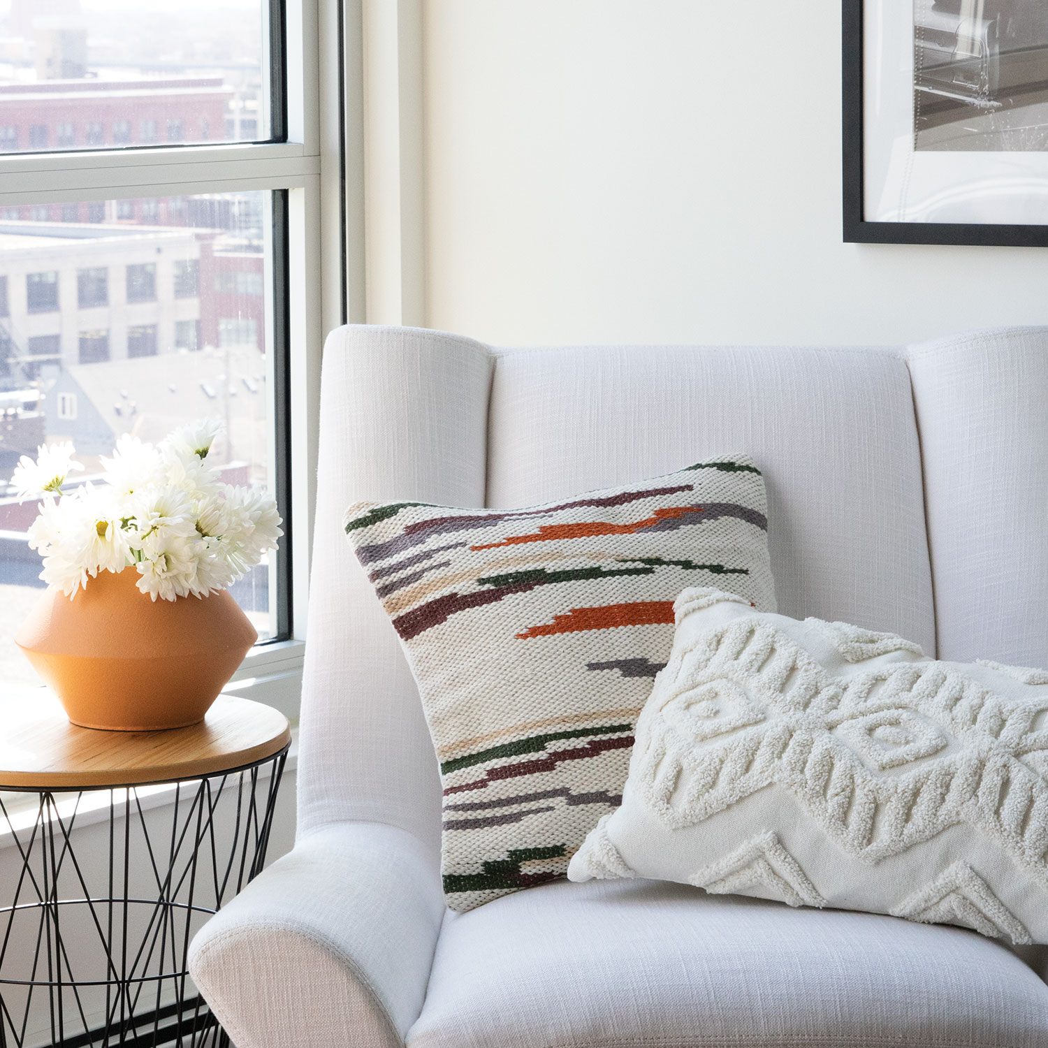 Items Shown:  Gila Pillow ,  Hayes Pillow Neutral