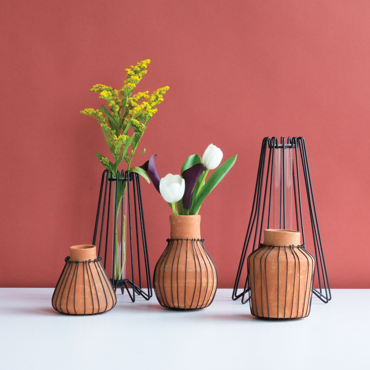 Items Shown:  Terracotta Bud Vases
