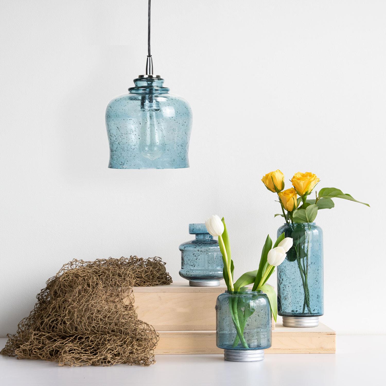 Items Shown:  Glass Marina Pendant ,  Marina Vase Large ,  Marina Vase Narrow ,  Marina Vase Small