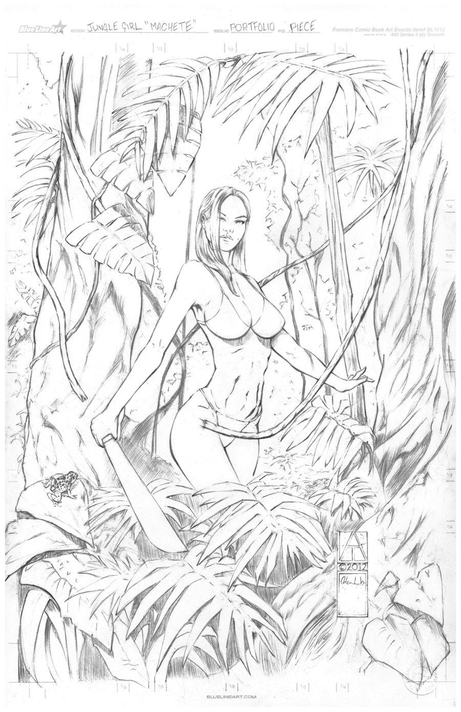 Jungle Girl - Pencil on Bristol Board - Copyright Adam Lumb 2012