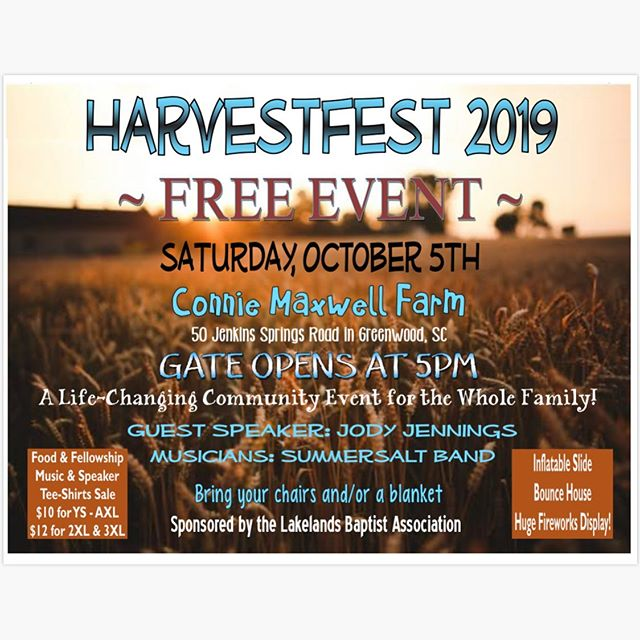 Don't miss out on an awesome event TONIGHT at Connie Maxwell's farm! There will be music, food, bounce houses, AND fireworks! 🎇  Gates open at 5, make sure to bring your own chair or blanket! See you there!  If you don't know the way there will be a group meeting at the BCM center at 5 to caravan over there.