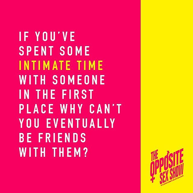 In a recent episode we talk about being friends with an ex and if it's possible or feasible to do...if you haven't already, listen and subscribe on @applepodcasts @stitcherpodcasts @spotify @googleplaymusic . . #theoss #theoppositesexshow  #exflames #friendswithanex #dating #intimacy @karazma @fuzzywarbles