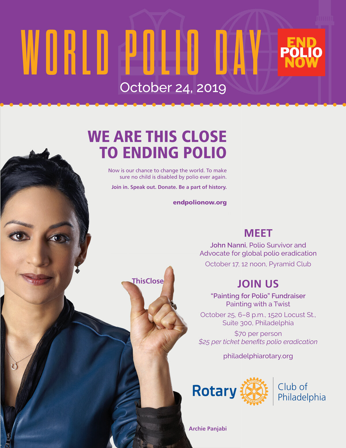 "Friday, October 25, 2019 - ""PAINTING FOR POLIO"" FUNDRAISER6‒8 p.m. (Starts promptly!)Painting with a Twist, 1520 Locust Street, Suite 300Philadelphia, PA 19102$70 per person / $25 per ticket goes towards polio eradicationFood and beverages providedPlease register by OCTOBER 16th:Use the member link here(Passcode: FUNDRAISER) -or- contact: Kelly Feighan: Kelly_feighan@yahoo.com"